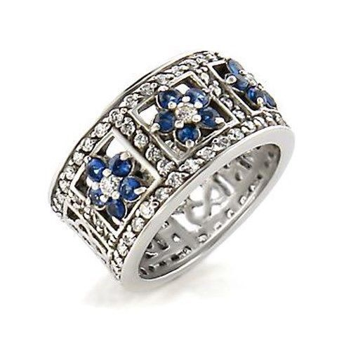 Silver Tone Sapphire Blue Flower Cubic Zirconia Band Ring - SIZE 9 (LAST ONE)