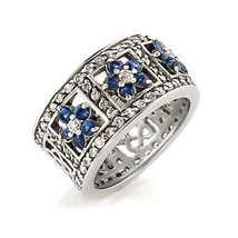 Silver Tone Sapphire Blue Flower Cubic Zirconia Band Ring - SIZE 9 (LAST ONE) image 1