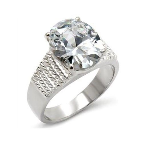 Sterling Silver Oval Cut Cubic Zirconia Engagement Ring - SIZE 10 (LAST ONE)