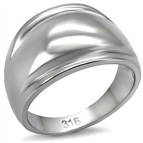 Never Fades Ladie's Stainless Steel Dome Style Simple Band Ring - SIZE 6, 7