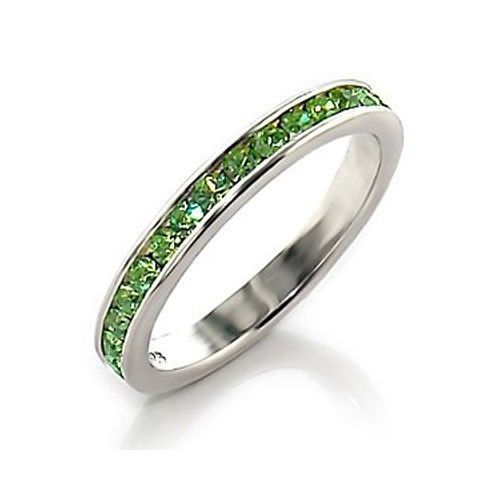 Sterling Silver August Birthstone Peridot Crystal Band Ring - SIZE 5 (LAST 1)
