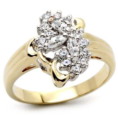 Gold Tone Cluster Cubic Zirconia Right Hand Ring - SIZE 7, 8 OR OTHER SIZES