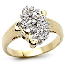 Gold Tone Cluster Cubic Zirconia Right Hand Ring - SIZE 7, 8 OR OTHER SIZES image 1