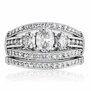 CZ WEDDING RINGS - 3 Stone Engagement Ring & Wedding Ring Set -SIZE 5 - 10 image 2