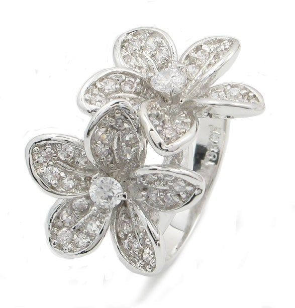 Two Flower Cubic Zirconia Right Hand Ring - SIZE 6 to 9
