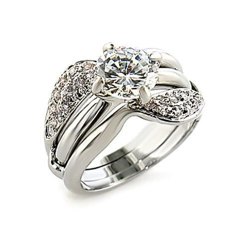 CZ Wedding Rings - Silver Tone Engagement & Wedding Ring Set - SIZE 9, 10