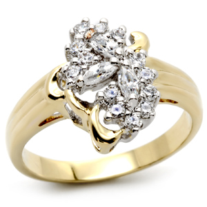 Gold Tone Cluster Cubic Zirconia Right Hand Ring - SIZE 7, 8 OR OTHER SIZES image 2