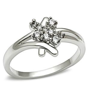 Silver Tone Cute Designer Inspired Cubic Zirconia Ring - SIZE 5 TO 10 image 2