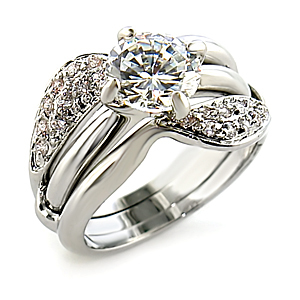CZ Wedding Rings - Silver Tone Engagement & Wedding Ring Set - SIZE 9, 10 image 2