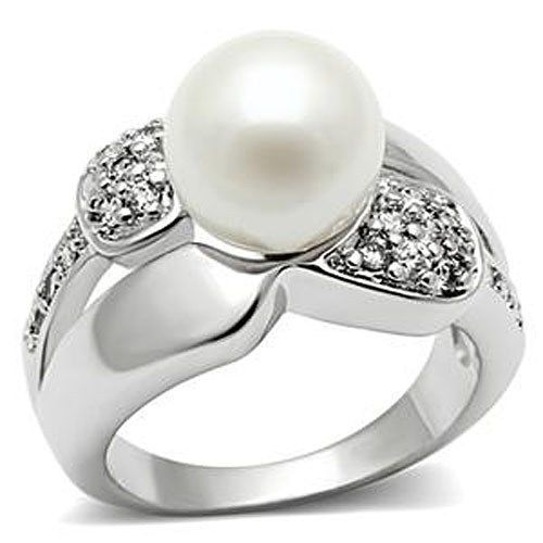 Silver Tone White Pearl Pave Setting Cubic Zirconia Right Hand Ring - 5,6,8,9,10
