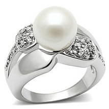 Silver Tone White Pearl Pave Setting Cubic Zirconia Right Hand Ring - 5,6,8,9,10 image 1