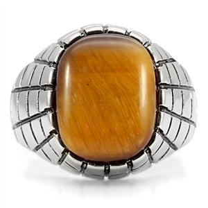 Stainless Steel Synthetic Tiger's Eye Men's Ring - SIZE 8 - 13 image 2