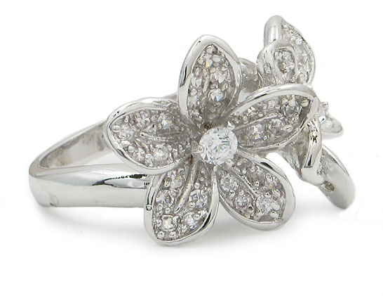 Two Flower Cubic Zirconia Right Hand Ring - SIZE 6 to 9 image 3