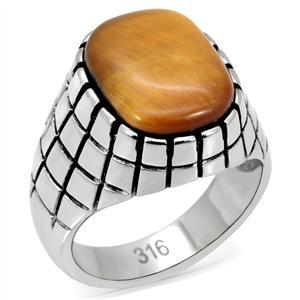 Stainless Steel Synthetic Tiger's Eye Men's Ring - SIZE 8 - 13 image 3