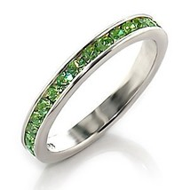 Sterling Silver August Birthstone Peridot Crystal Band Ring - SIZE 5 (LAST 1) image 2