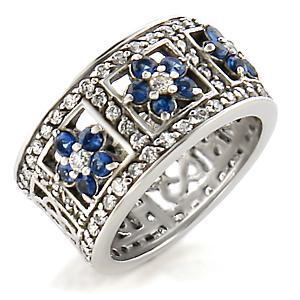 Silver Tone Sapphire Blue Flower Cubic Zirconia Band Ring - SIZE 9 (LAST ONE) image 2