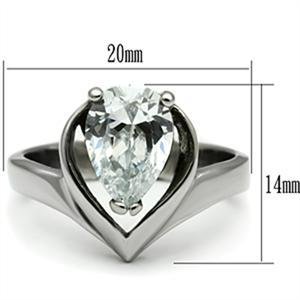 Stainless Steel 3.2 Carat Pear Shape CZ Engagement Ring - SIZE 8 OR OTHER SIZES image 2