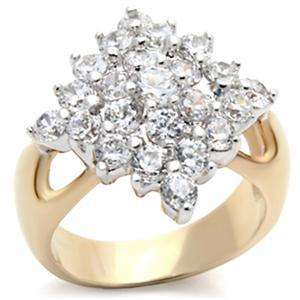 Gold Tone Cluster Cubic Zirconia Right Hand Ring - SIZE 5 OR OTHER SIZES