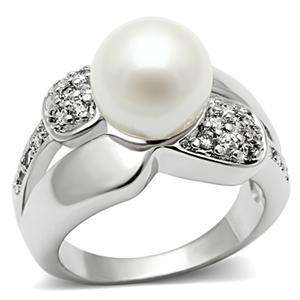 Silver Tone White Pearl Pave Setting Cubic Zirconia Right Hand Ring - 5,6,8,9,10 image 2