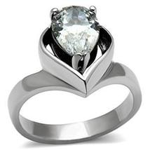 Stainless Steel 3.2 Carat Pear Shape CZ Engagement Ring - SIZE 8 OR OTHER SIZES image 3