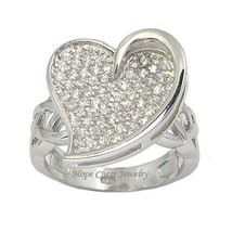 Sterling Silver Heart Shape Designer Inspired Pave Cz Ring   Size 7, 9 - $26.54