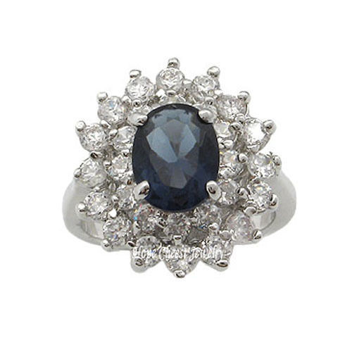 Kate Middleton Inspired Silver Tone Oval Blue CZ Ring - SIZE 6 OR OTHER SIZES