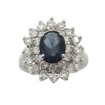 Kate Middleton Inspired Silver Tone Oval Blue CZ Ring - SIZE 6 OR OTHER SIZES image 1