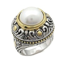 PEARL RING - Two Tone Antique Design Pearl Right Hand Ring - SIZE 6, 7, 8 - $20.24