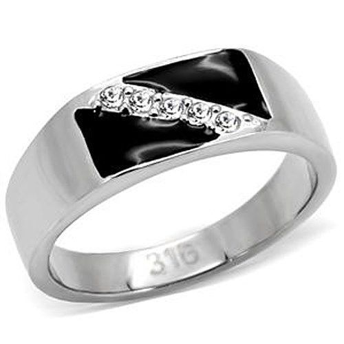 STAINLESS STEEL - Black Enamel Men's Crystal Ring - SIZE 11 OR OTHER SIZES