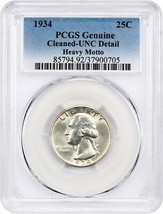1934 25c PCGS UNC Details (Heavy Motto, Cleaned) - Washington Quarter - $38.80