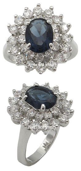 Kate Middleton Inspired Silver Tone Oval Blue CZ Ring - SIZE 6 OR OTHER SIZES image 2