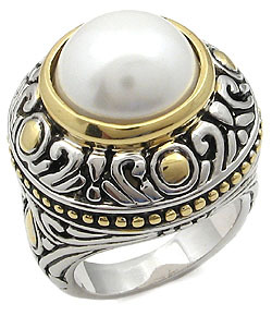 PEARL RING - Two Tone Antique Design Pearl Right Hand Ring - SIZE 6, 7, 8