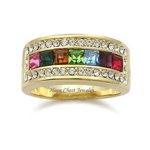 Gold Tone Multicolor Cubic Zirconia Right Hand Band Ring - SIZE 7 (LAST ... - $13.04
