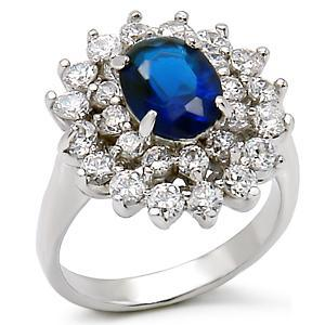 Kate Middleton Inspired Silver Tone Oval Blue CZ Ring - SIZE 6 OR OTHER SIZES image 3