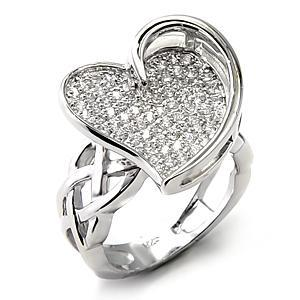 STERLING SILVER Heart Shape Designer Inspired Pave CZ Ring - SIZE 7, 9