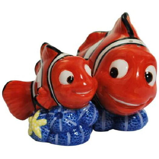 Disney's Finding Nemo Marlin & Nemo Ceramic Salt and Pepper Shakers Set, UNUSED