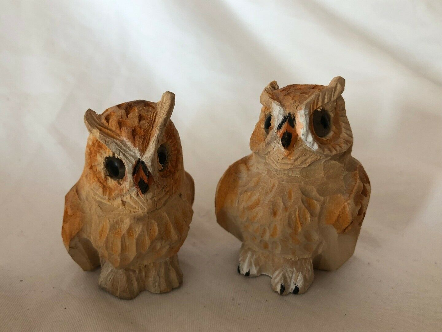 4 Mixed Lot Wooden Vintage Owl Figurines Made in China