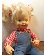 """Vintage 14"""" country /farm girl baby doll Blonde Hair/blue eyes/freckles - $24.75"""