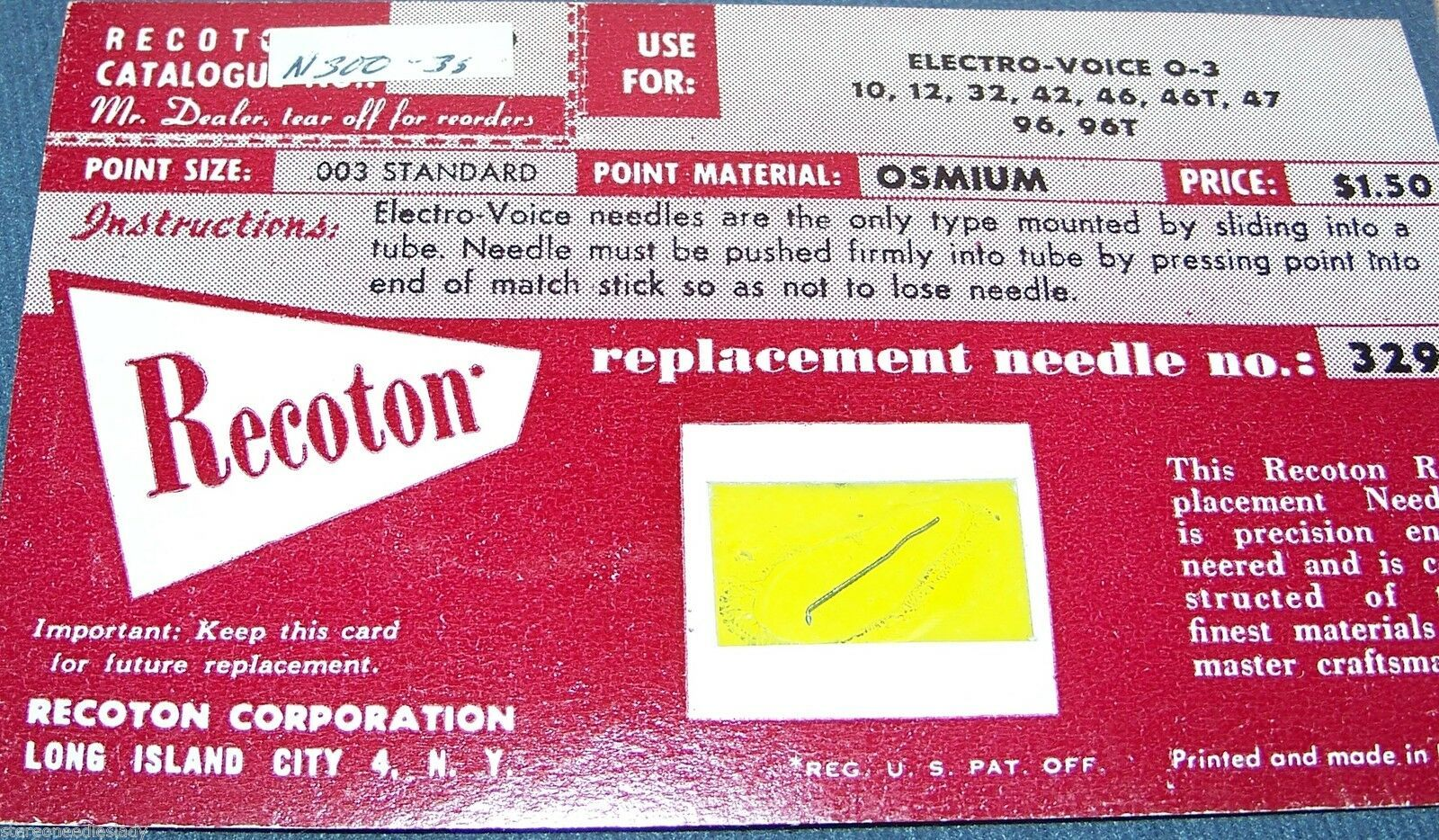 PHONOGRAPH RECORD NEEDLE for Electro-Voice EV O-3 EV 10 12 32 42 46 46T 47 96