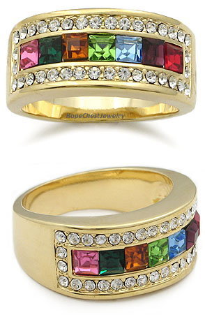 Gold Tone Multicolor Cubic Zirconia Right Hand Band Ring - SIZE 7 (LAST ONE)
