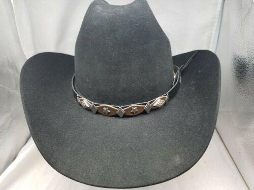 Black+Brown HATBAND w Silver DIAMOND, DOGWOOD and STAR CONCHOS Cowboy Hat Band