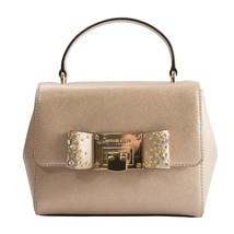 Michael Kors Tina Metallic Ballet Rose Gold Leather Jeweled Bow Satchel NWT - $227.21
