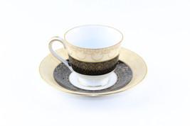 Occupied Japan Black Beige Demitasse Tea Cup & Saucer - $14.85