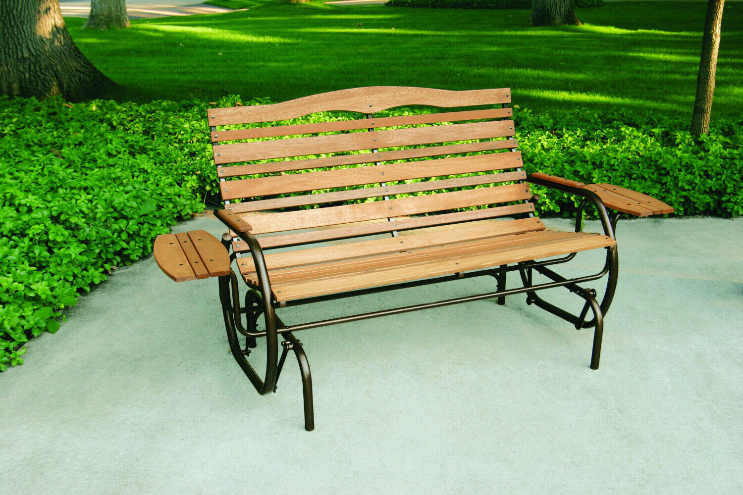 Wood Patio Bench Glider With Trays Outdoor Garden Porch Swing Chair Loveseat