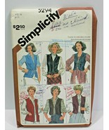 Simplicity Sewing Pattern 5294 Vests Misses Size 14 - $7.84