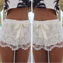 New Fashion Women Mid Waisted Lace Chiffon Crochet Floral Bowknot Short Shorts P
