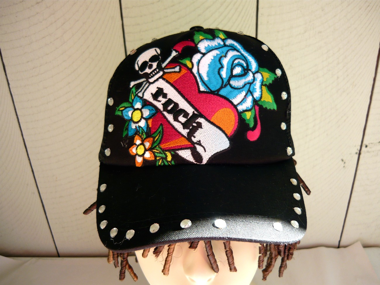 Scull / Rose/ Rock Embroidery Ball Cap