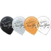 "Happy New Year! 15 Black Silver Gold Helium Quality 12"" Latex Balloons - $4.29"