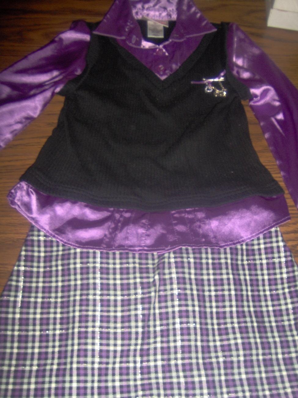 Jenny & Me Purple and Black Long Sleeve Skirt Set Girls Size Bonanza