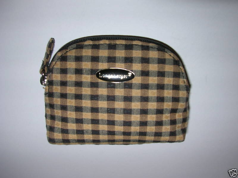 LONGABERGER BLACK & TAN KHAKI CHECK  MINI COIN PURSE